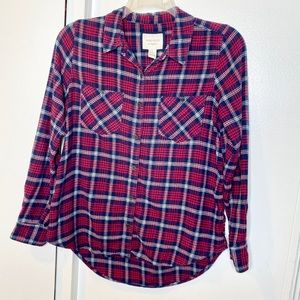 Forever 21 Red Blue Plaid Flannel Button Shirt M